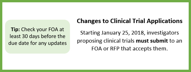 Changes to Clinical Trial Applications Starting January 25, 2018, investigators proposing clinical trials must submit to an FOA or RFP that accepts them.